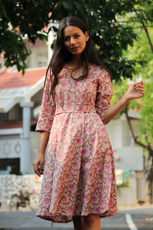 Pastel Lily Hand Block Printed Dress