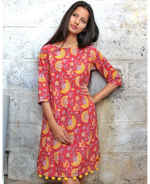 Red Floral Block Printed Swing Dress with Handmade Pompoms by Mogra Designs