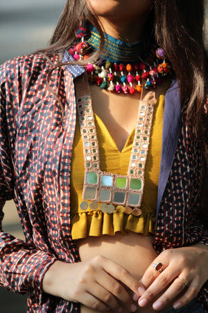 Kutchi Mirror Work Necklace By Qurcha