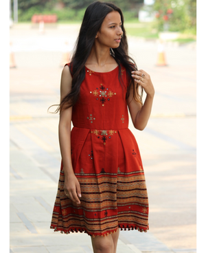 Fit & Flare Wool Dress in Rust by Mogra Designs