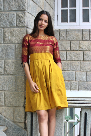 Deep Red and Mustard Pleated Saree Dress
