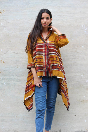 Ochre Handwoven Wool Open Shawl Jacket