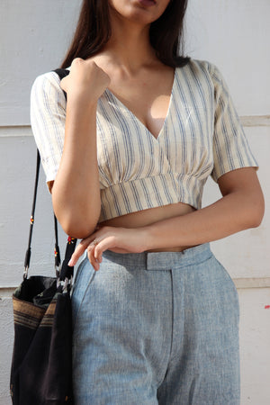 Organic Cotton Striped Crop Top and Blue Pants