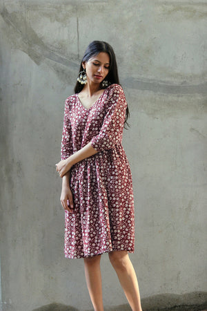 Floral Hand Block Printed Cotton Dress