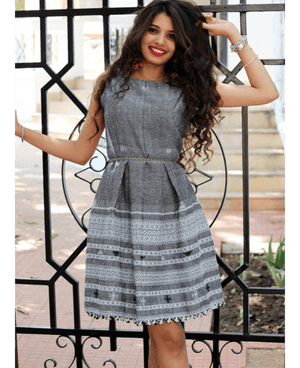 Handwoven and Hand Embroidered Fit & Flare Wool Dress in Grey - Mogra Designs