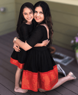Mother & Daughter Matching Fit & Flare Madurai Saree Dress - Mogra Designs