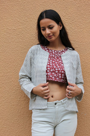 White Ikat Cropped Jacket