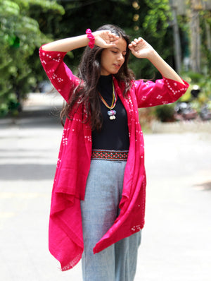 Pink Handwoven and Embroidered Bandhani Tribal Shawl Jacket in Wool