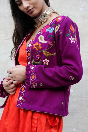 Purple Flora Hand Embroidered Jacket