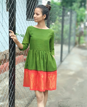 Green and Orange Fit & Flare Madurai Saree Dress