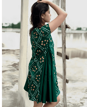 Handmade Bandhani Tiered Swing Dress - Mogra Designs