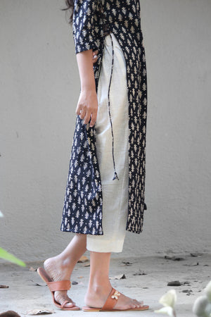 Hand Block Printed Fern Dress Over Pants Set