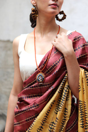 Tussar Silk Saree And Madhubani Inspired Embroidered Blouse