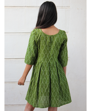 Green Handwoven Ikat Pleated Dress by Mogra Designs