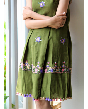 Handwoven and Hand Embroidered Fit & Flare Wool Dress in Leaf Green