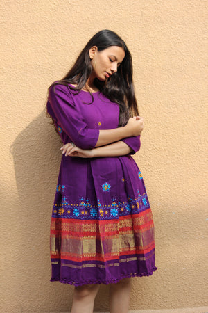 Handwoven and Hand Embroidered Fit & Flare Wool Dress in Egg Plant