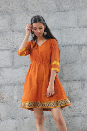 Ginger Drawstring Kaftan Saree Dress