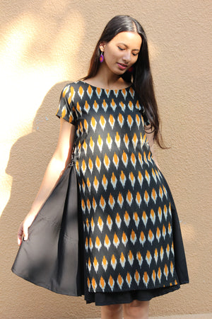 Black Ikat Tiered Swing Dress