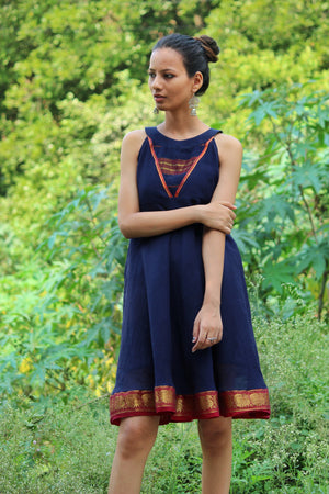 Navy Blue Sleeveless Flared Saree Dress by Mogra Designs