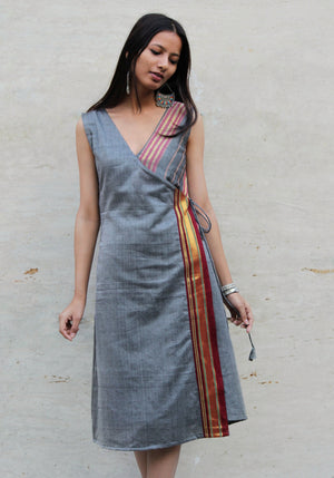 Grey Saree Wrap Dress