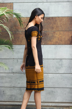 Boho Handwoven Wool Pencil Dress