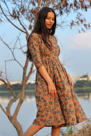 Cinnamon Ajrakh Fit and Flare Dress