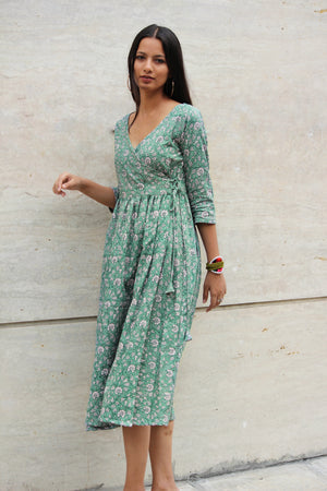 Teal Green Floral Wrap Dress