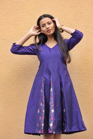 Purple Brocade Fit and Flare Dress