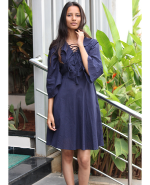 Navy Blue Lace-Up Fit and Flare Dress by Mogra Designs