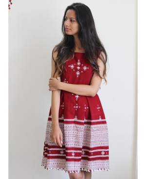 Fit & Flare Wool Dress in Red and White by Mogra Designs