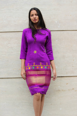 Purple Wool Pencil Dress