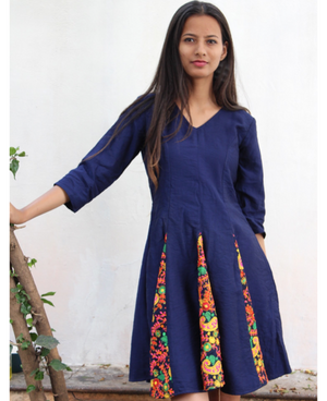 Floral Indian Embroidered Fit and Flare Dress in Navy Blue