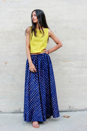 Bandhani Skirt and Cotton Top Set