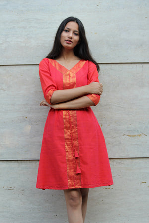 Orange Kaftan Saree Dress