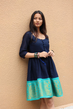 Navy Blue and Teal Fit & Flare Madurai Saree Dress