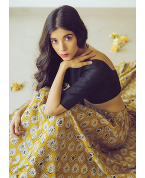 Hand Block Printed Canary Yellow and Black Lehenga Set in Cotton and Raw Silk by Mogra Designs