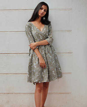 Floral Printed Wrap Dress by Mogra Designs