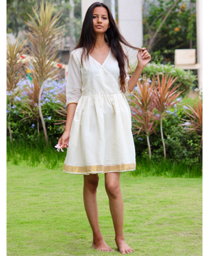 White Cotton Kasavu Saree Wrap Dress