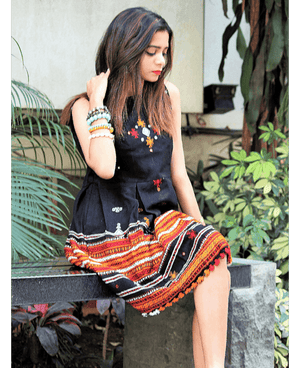 Handwoven and Hand Embroidered Fit & Flare Wool Dress in Black - Mogra Designs