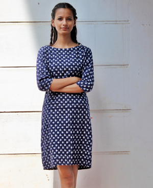 Handwoven Ikat Pencil Dress in Navy Blue by Mogra Designs