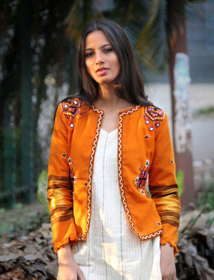 Mustard Handwoven & Hand Embroidered Mirror Work Cropped Jacket in Wool