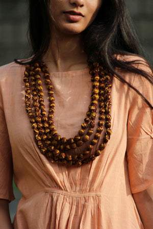 Gold and Brown Sari Bead Necklace By Qurcha