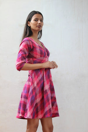 Pink Ikat V Neck Fit and Flare Dress