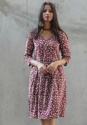 Berry Berry Hand Block Printed Floral Cotton Dress
