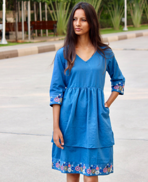 Chalky Blue Layered Hand Embroidered Dress by Mogra Designs