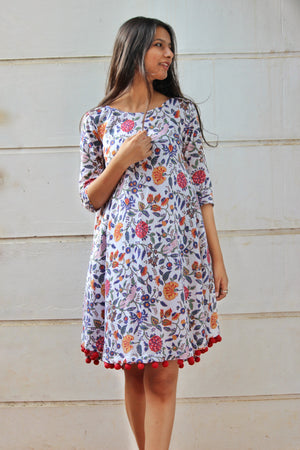 White Floral Block Printed Swing Dress with Handmade Pompoms