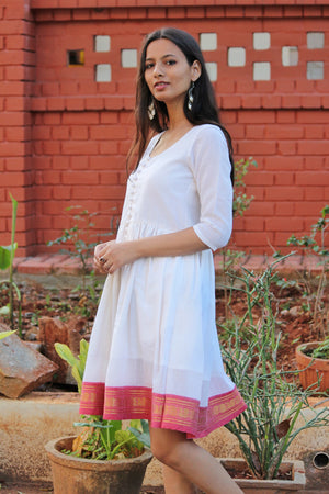 White & Pink Saree Dress