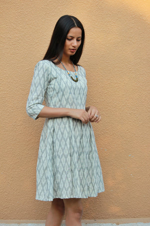 White and Grey Handwoven Ikat Pleated Dress