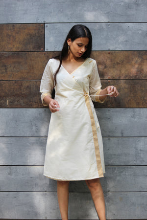 Kasavu Saree Wrap Dress