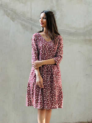 Hand Block Printed Floral Dress